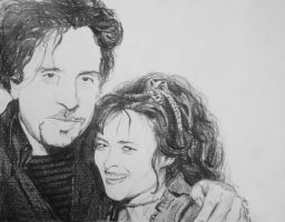 Tim Burton and Helena BC by ArtLucie