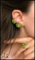 Green Grapes set earcuff, stud, ring by JuliaKotreJewelry