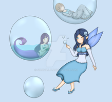 SS gift - Bubble fairy, Gold and Margo by Sirenilily