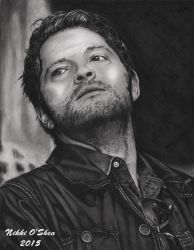 Misha Collins (Castiel) Graphite Portrait Finished by DragonPress