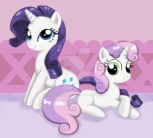 Rarity and Sweetie Belle by Mel-Rosey