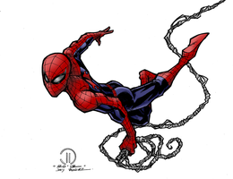Spider-Man Swinging Colored Lineart by Dolcux