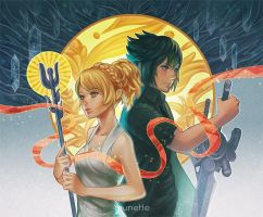 Noctis and Luna by munette