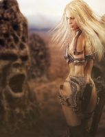 Blonde Warrior Woman, Fantasy 3D-Art by shibashake