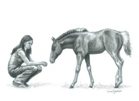 Girl with Foal Charcoal by LadyRavenwood