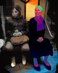 Old woman in the subway by princendymion