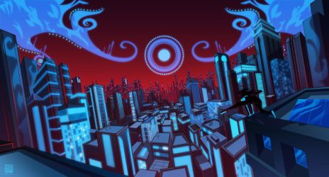 Nightwing City Scape by Nexxorcist