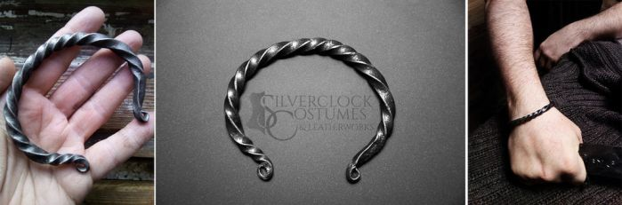 VIKING FORGED BANGLE steel bracelet - for sale by SilverclockCostumes