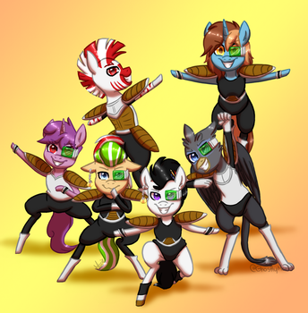 .: Commission :. Tokusentai Team by GhostlyMarie