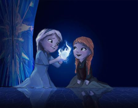 Frozen: Young Elsa and Anna by Nicnikbean