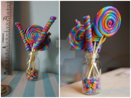 1/12 scale rainbow lollipops and sweets by LittlestSweetShop
