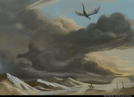 Saphira flying over Hadarac Desert by Fabio-mikk