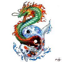 Dragon Koi tattoo commission by yuumei