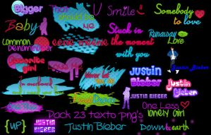 Pack 23 Textos PNG's Justin Bieber by Cata-Belieber