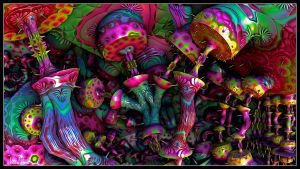 Psychedelic Mushrooms by EricTonArts