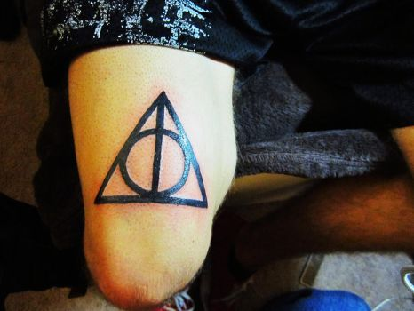 Harry Potter - Deathly Hallows symbol tattoo by benjamin-phelps