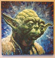 Yoda Star Wars Acrylic Painting by JonARTon