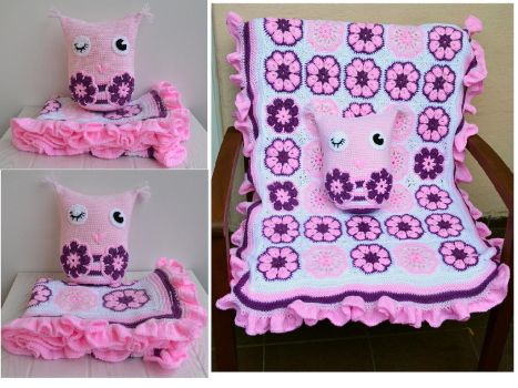 Babyblanket and pillow Owl by dosiak