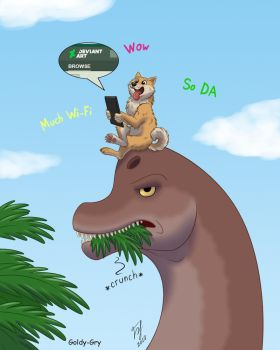 A Doge in Jurassic Park by Goldy--Gry