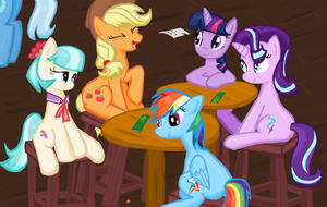 Twily Coco Dash AppleJack Starlight  w8 in the Pub by sallycars