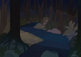 blue water - night background [commission] by eszart