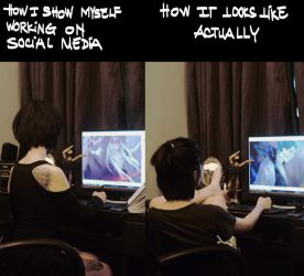 how I show myself working on social media by NanFe