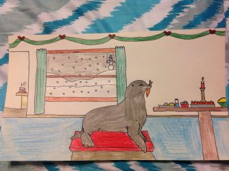 A Seal Having some Christmas dinner by PhatPandaPo23