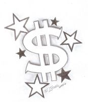 Tattooflash Dollar with Stars by 2Face-Tattoo