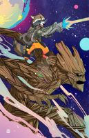 Rocket and Groot New Poster Done by Angrypanda-Gin
