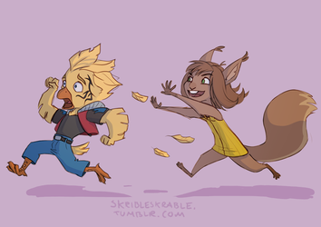 Zell the chicken(wuss) and Selphie the squirrel by skribleskrable