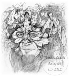 Green Man in Pencil by InnerFaeCreations