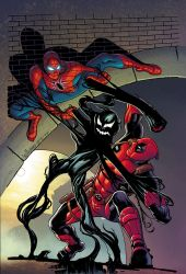 Spiderman Deadpool symbiote cover final by BroHawk