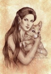 Lady with a fox by Isbjorg
