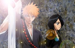 Ichigo and Rukia by monichan