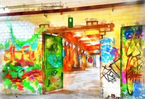 Warehouse with Art by oldhippieart
