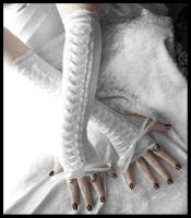 Snow Maiden Corset Arm Warmers by ZenAndCoffee