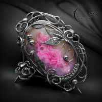 Brooch ROZANTHIA - Silver and Druzy Agate. by LUNARIEEN