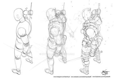Deadpool : winter is coming (sketch process) by inhyuklee