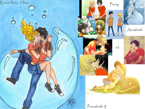 Percy and Annabeth Collage and Desktop by runofan123