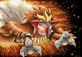 Entei's Charging Flames by ECrystalica
