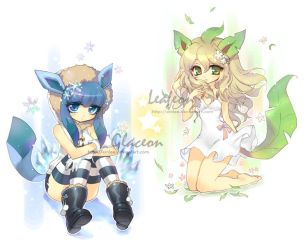 glaceon + leafeon by einlee