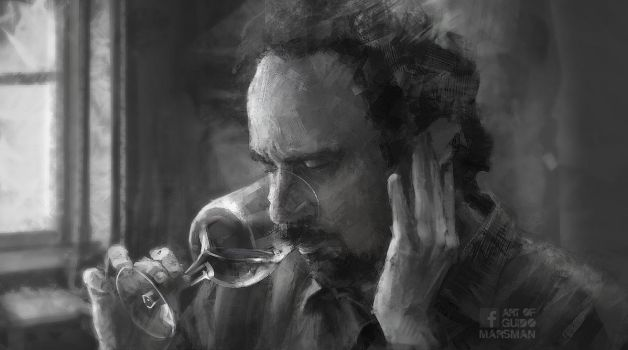A movie image study. (Dude with wineglass) by Lolzdui