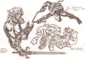 LionO, Mikey, Sonic and co by kameleon84