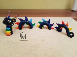 black rainbow water dragon by claymeeples