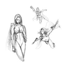 PowerGirl Sketches by Nx3Fox