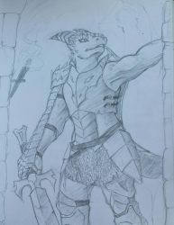 Dragonborn Knightess by The-Pyromanecer