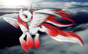 flight of the red and white alicorn by auveiss