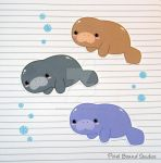 Chibi Manatee Stickers and Magnets by pixelboundstudios