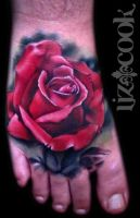 Red Rose Foot Tattoo by LizCookTattoo