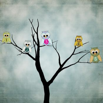 Owls By Number 1 to 5 by MellieR